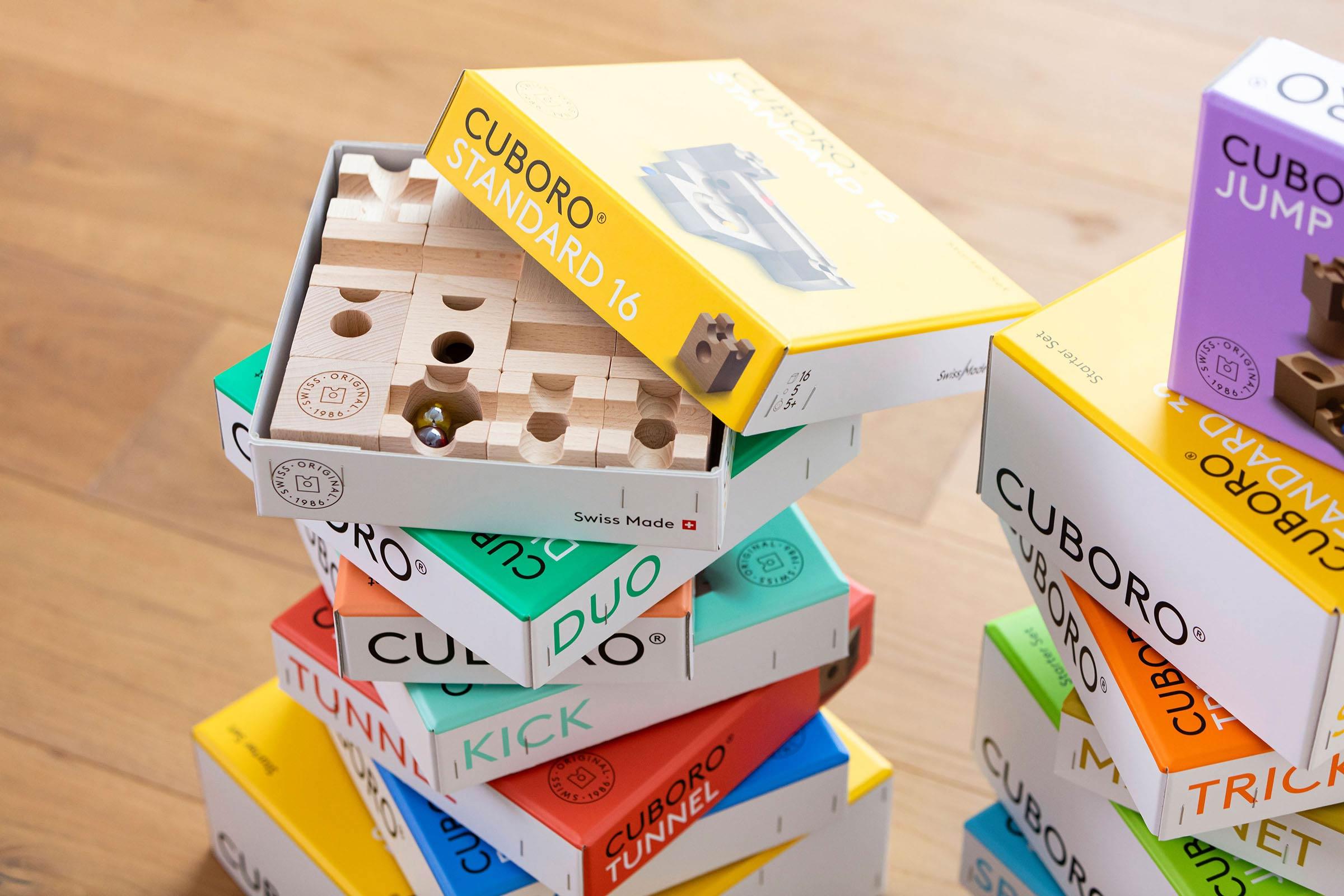 CUBORO Sets Swiss Made Design Holz Kugelbahn
